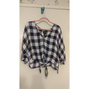 Forever 21 Gingham Front Tie Blouse
